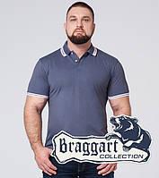 Футболка поло мужская в большом размере Braggart - 6637-1 серо-синий, фото 1