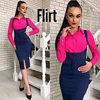 Сарафан модный с завышенной талией и разрезом стреч джинс разные цвета Smfl2261