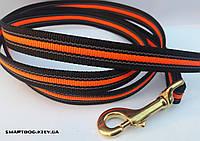 Прорезиненный поводок Черно-оранжевый 20мм