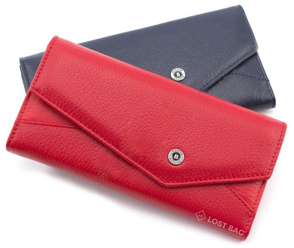 Красный кожаный кошелек BOSTON (17673)