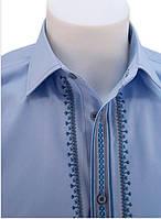 VIP строгая мужская рубашка вышиванка синяя, серая