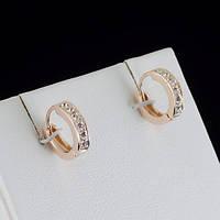 Красивые серьги с кристаллами Swarovski, покрытые золотом 0787, фото 1