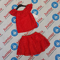 Детский нарядный гипюровый костюм для девочек оптом Fashion, фото 1