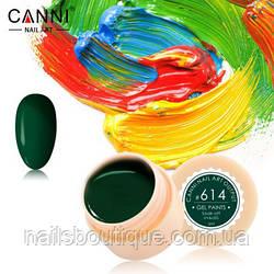 Гель краска Canni №614, темно-зеленая