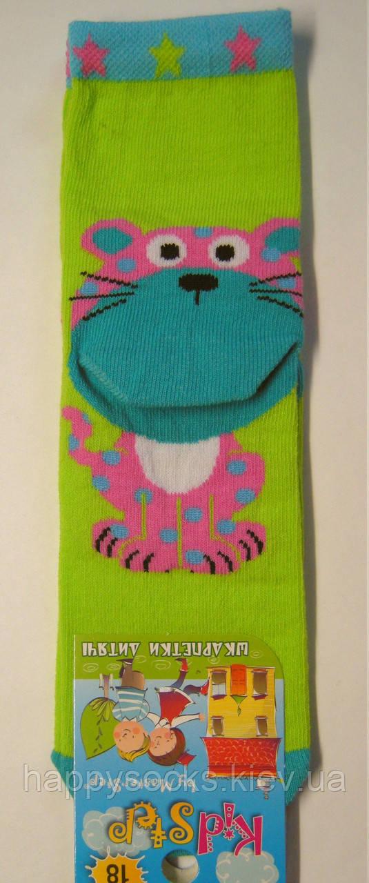 Носки c 3D детские салатового цвета с розовым леопардом