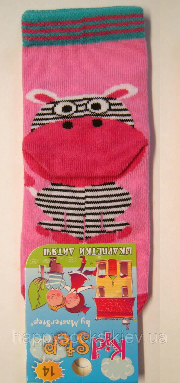 Носки с рисунком 3-D для девочек розового цвета с зеброй