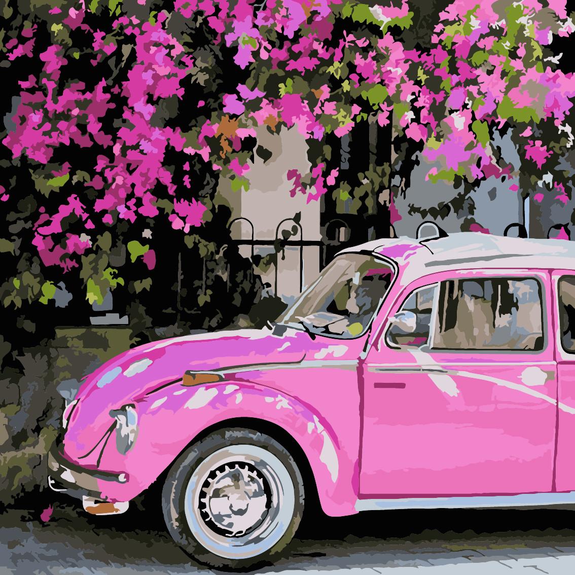 Живопись по номерам Розовое авто ArtStory AS0224 40 х 40 см (без коробки)