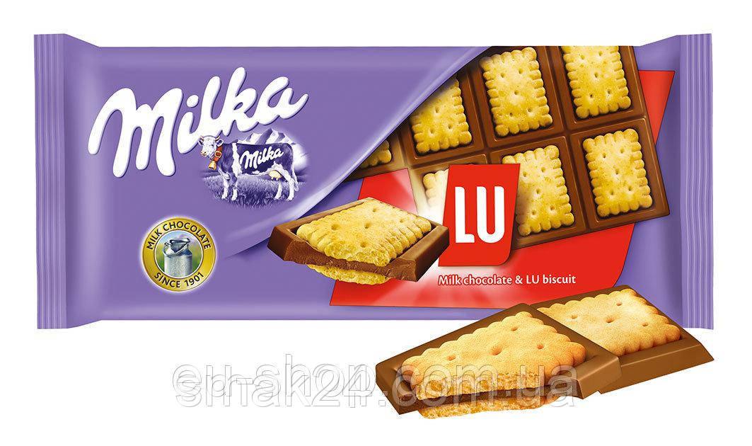 Шоколад MILKA Lu Biscuit(с бисквитным печеньем ) Швейцария 100г