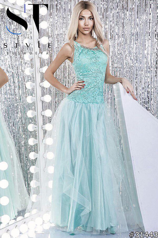 30412fa460c9b5f Вечернее платье с заниженной талией с гипюром и фатином - купить ...