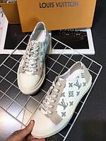 Стильные кожаные белые кроссовки кеды YSL