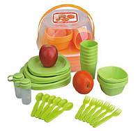 Набор пластиковой посуды для пикника 48 предметов красный