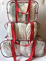 Набор из 3 прозрачных сумок в роддом - S,M,L - Красные