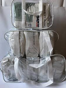 Набор из 3 прозрачных сумок в роддом - S,M,L - Белые