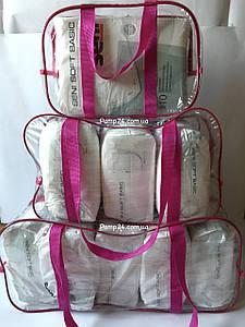 Набор из 3 прозрачных сумок в роддом - S,M,L - Розовые