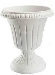 Вазон для цветов пластиковый на ножке, диаметр 40 см высота 47 см, 2924 Белый