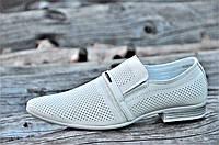 Мужские летние туфли модельные классические натуральная кожа бежевые удобные (Код: 1129), фото 1