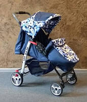 Детская прогулочная коляска Baby car, Baby Car темно-синий+цветы