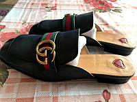 Красивые кожаные шлепки тапки  Gucci