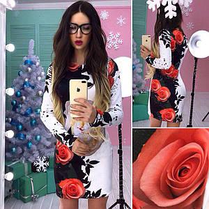 Черно-белое платье из дайвинга с принтом розы 42-44 р