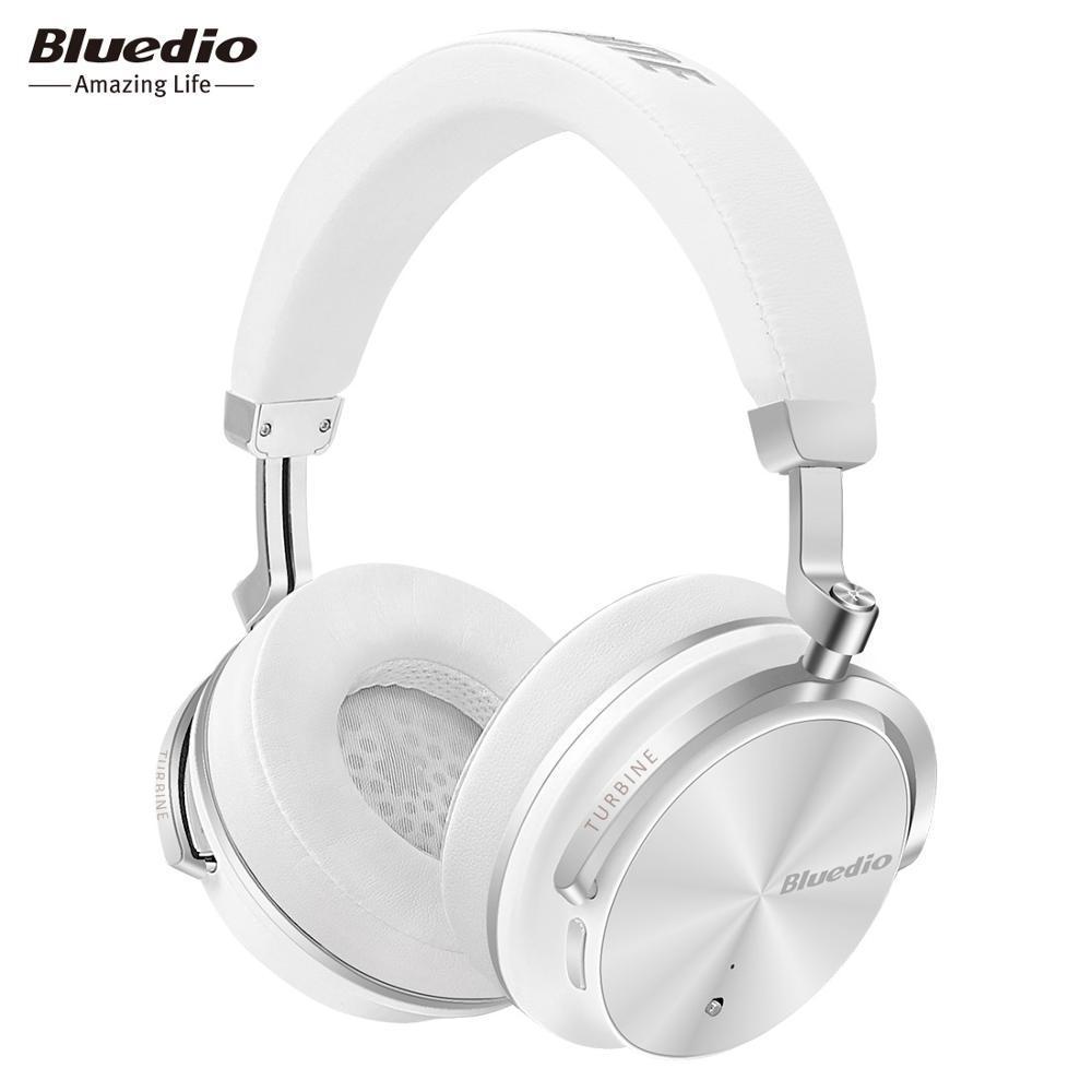 Беспроводные Bluetooth наушники гарнитура Bluedio T4S Turbine Active с активным шумоподавлением. Белые.
