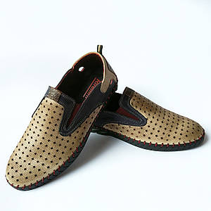 Турецкая мужская обувь rifellini : летние кожаные мокасины, песочного цвета