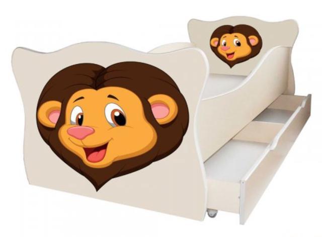 Кровать детская Enimal-2 с ящиком (Лев)