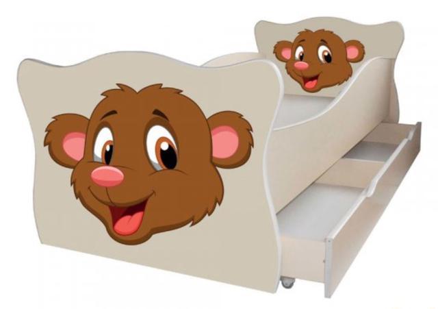 Кровать детская Enimal-3 с ящиком (Мишка)