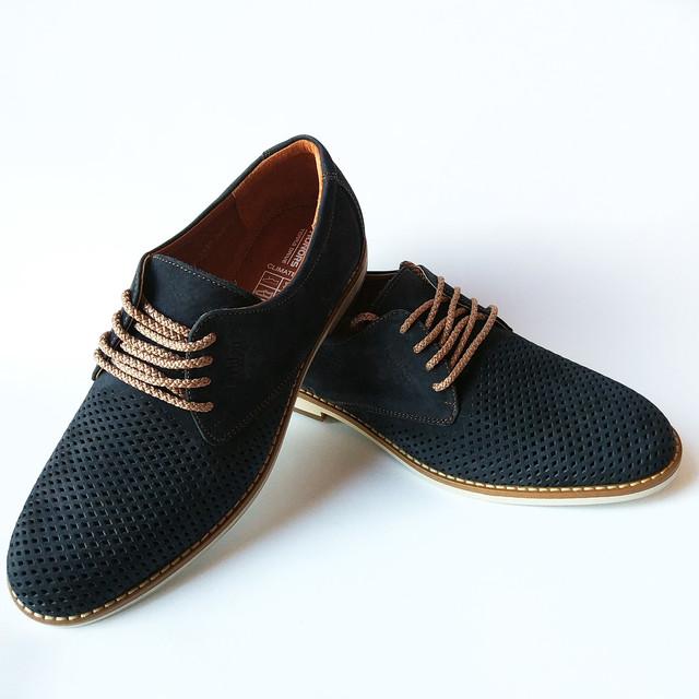Летняя, мужская, кожаная обувь от харьковской фабрики коннорс Украина замшевые туфли, синего цвета на шнуровке