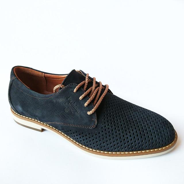 Летняя, мужская, замшевая обувь от харьковской фабрики коннорс  Украина модные туфли, синего цвета на шнуровке