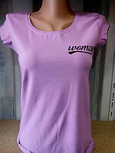 Женская футболка, коттон, р-р универсальный 42-46 (сиреневый)