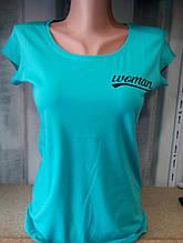 Женская футболка, коттон, р-р универсальный 42-46 (бирюзовый)