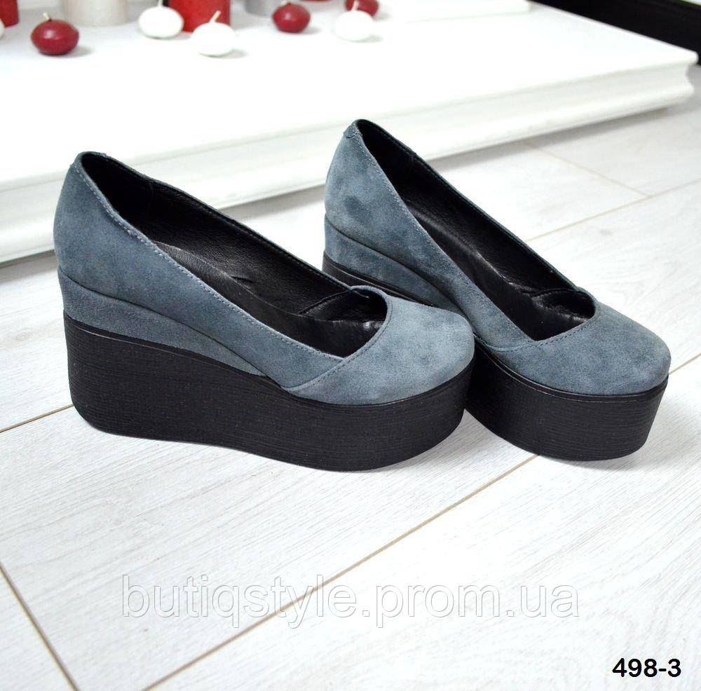 40 размер! Женские замшевые серые туфли на черной танкетке натур замш