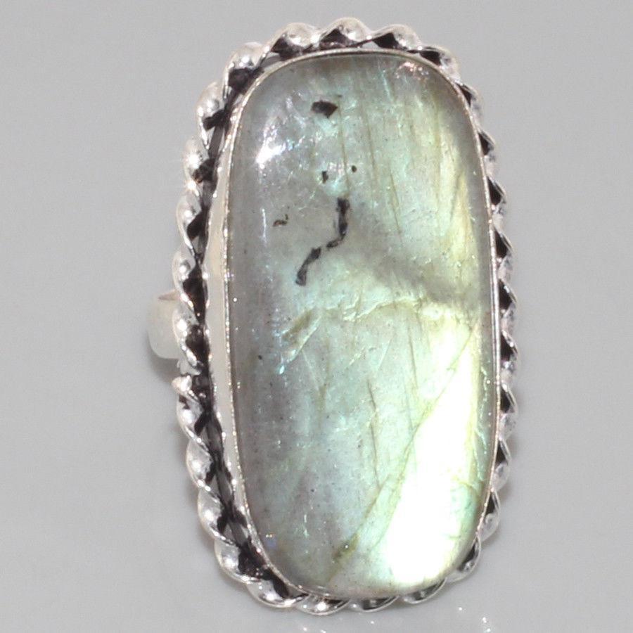 Красивое кольцо с натуральным камнем лабрадор в серебре. Кольцо с лабрадором 18 размер Индия, фото 1
