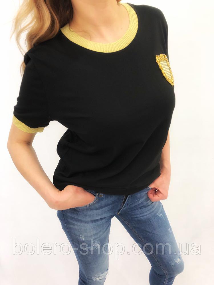 Футболка женская Dior черная с золотом