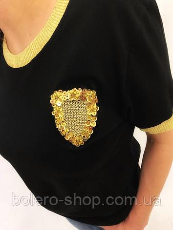 Футболка женская Dior черная с золотом, фото 2