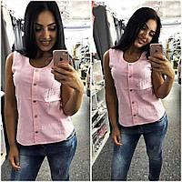 """Женская летняя блузка в больших размерах 4672 """"Лён Пуговицы Стразы"""" в расцветках"""