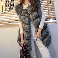 Женская жилетка безрукавка с искусственным мехом высшего класса LUX 5