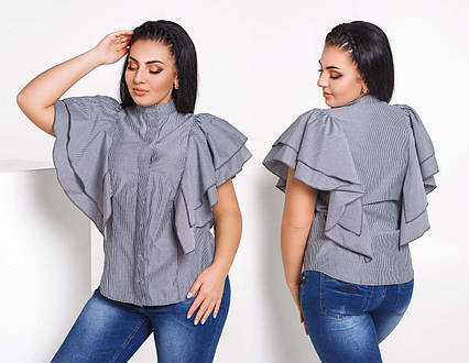 """Женская летняя блузка-рубашка в больших размерах 233 """"Коттон Полоска Крылышки Воланы"""""""