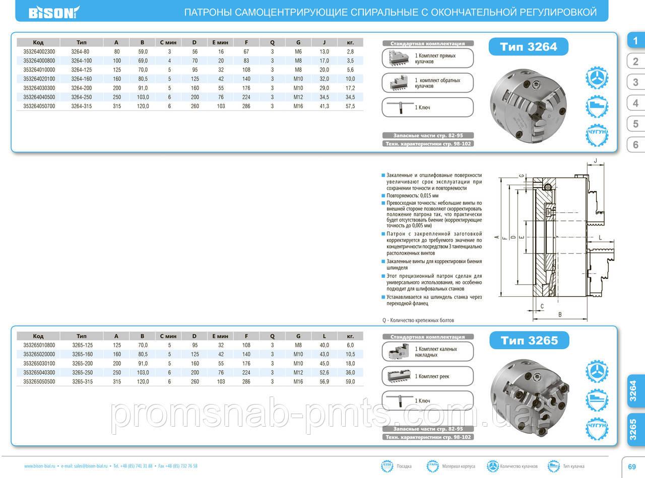Патроны 3264-125 токарный самоцентрирующий с окончательной тангенциаьной регулировкой Bison-Bial