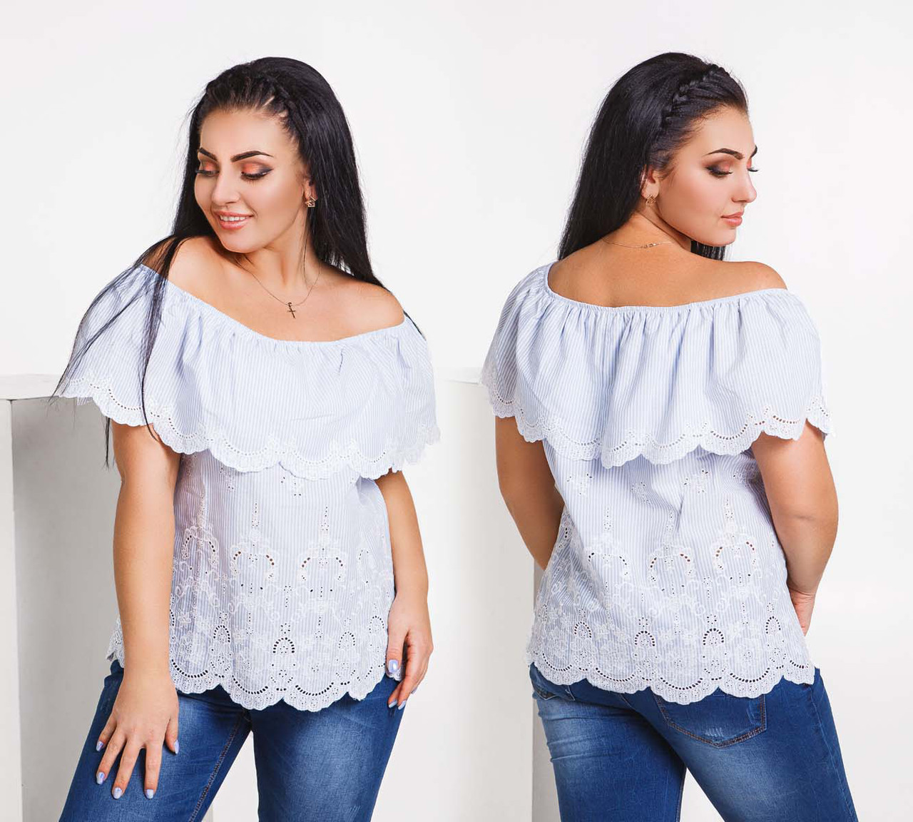 """Летняя женская свободная блузка в больших размерах 1567-1 """"Коттон Полоска Волан Вышивка Купон"""""""