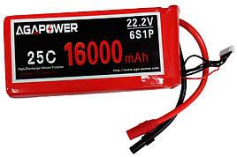 Аккумулятор AGA POWER Li-Pol 16000mAh 22.2V 6S 25C Softcase 59x75x170мм AS150+XT150