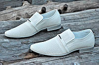 Мужские летние туфли модельные классические натуральная кожа бежевые удобные (Код: 1129а), фото 1