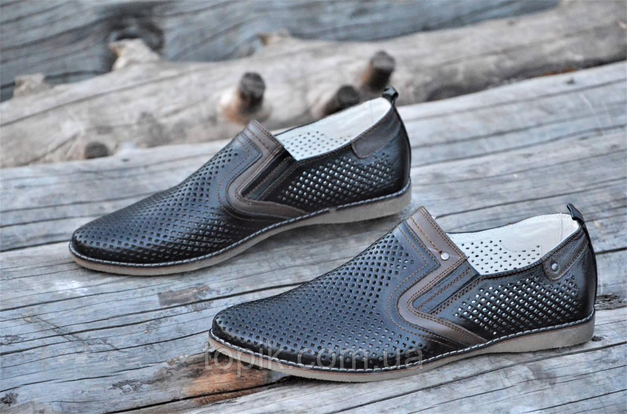 Мужские летние туфли модельные классические натуральная кожа черные удобные (Код: 1130а). Только 40р!