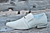 Мужские летние туфли модельные классические натуральная кожа бежевые удобные (Код: М1129)