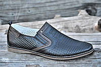 Мужские летние туфли модельные классические натуральная кожа черные удобные (Код: М1130). Только 40р!