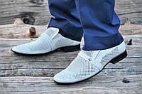 Мужские летние туфли модельные классические натуральная кожа светло серые (Код: М1128а), фото 1