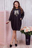 Черная свободная женская туника из двух нитки хорошего качества с принтом сова. Арт-6419/51
