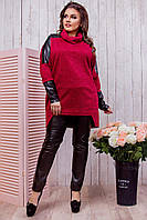 Красная ангоровая свободная женская туника со вставками из экокожи. Арт-6422/51