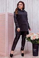 Черная ангоровая свободная женская туника со вставками из экокожи. Арт-6422/51