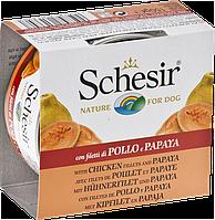 613707 Schesir Курица с папайей для собак, банка, 150 гр